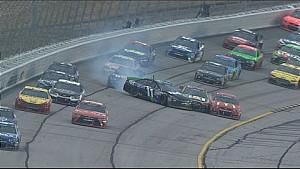 Denny Hamlin gets loose, wrecks Jeff Gordon, Jamie McMurray - Atlanta - 2015 NASCAR Sprint Cup