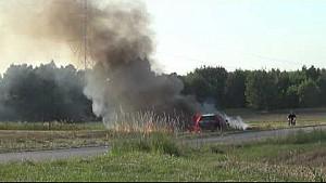 Rally car starts massive grass fire in Polish rally