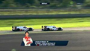 لوكاس دي غراسي على متن السيارة رقم 8 أودي يتجاوز أندريه لوتيرر في السيارة رقم 7 أودي