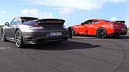 Porsche 911 Turbo 991 vs Nissan GTR Drag Race Acceleration Sound Rennen Beschleunigung 2