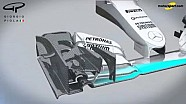 Giorgio Piola - Mercedes W07 ala delantera, la nariz y las paletas dan vuelta