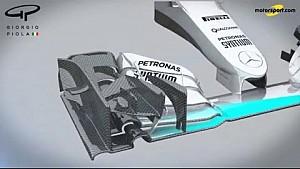 Mercedes W07 Frontflügel, Nase und Luftleitbleche