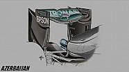 Giorgio Piola - L'aileron arrière en forme de cuillère de la Mercedes W07