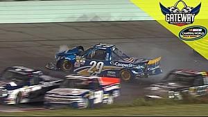 Reddick gets into Nemechek going for the lead causing multi-truck wreck