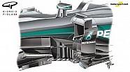 Giorgio Piola - Mercedes W07 bargeboard evolution