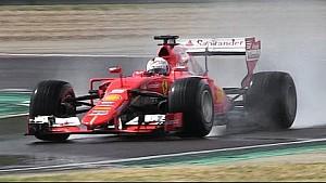 Тесты Себастьяна Феттеля на новых дождевых шинах Pirelli 2017 года на доработанной Ferrari SF15-T
