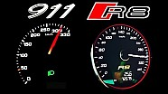 PORSCHE 911 vs AUDI R8 V10 Acceleration 0-300 Autobahn Onboard V10 Sound