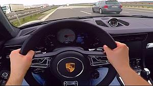 Porsche 911 POV Onboard C4S Turbo Acceleration Autobahn Sound