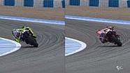 Komparasi riding style Rossi dan Marquez di Jerez