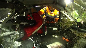 Inside view: Safety crews turn Peters' truck back over