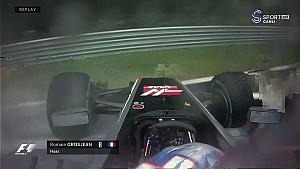 2017 İtalya Sıralama - Grosjean'ın Q1'de Yaptığı Kaza