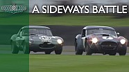 Ultra-sideways E-type v Cobra battle at Revival