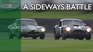 Ultra-sideways E-type v Cobra battle at Revival