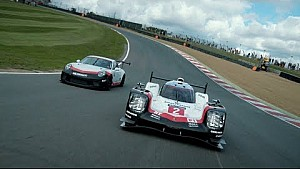 Together on track for the first time. 919 Hybrid and the 911 GT3 Cup car.