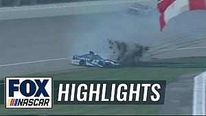 Kyle Larson slams into the grass chasing after Kyle Busch | 2018 Michigan |