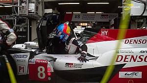 L'entrée en piste d'Alonso au Mans